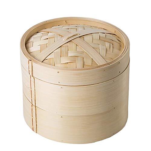 Bambusdampfkocher, 2 Ebenen Chinese Food Steamers, Handgemachter Dampfkorb für Knödel, Gemüse, Huhn, Fisch,22.5cm/9in