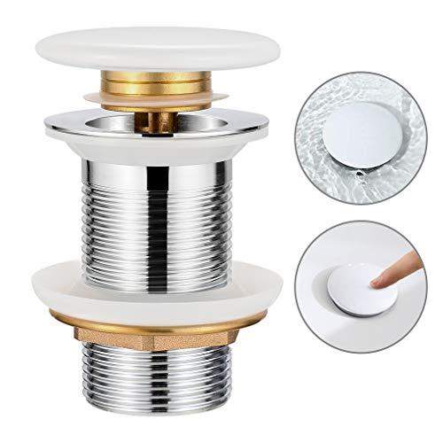 Synlyn Universal Ablaufgarnitur Ohne Überlauf für Waschbecken/Waschtisch verchromten Messing Pop Up Ventil mit Weiß Keramik-Abdeckung Hochwertige Ablaufventil - Einfache Installtion