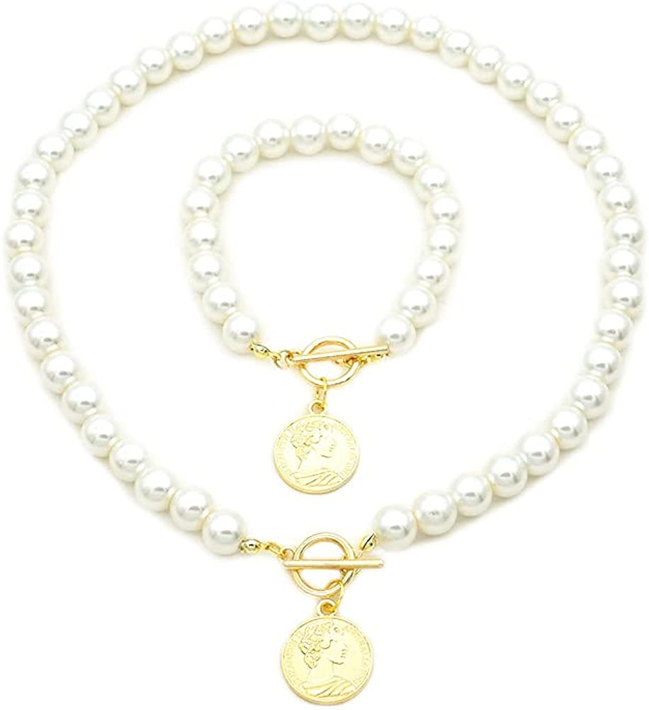JSEA Womens Simulated Pearl Coin Charms Necklace and Bracelet Jewelry Set Short Necklace Bead Bracelet 8 10 12mm