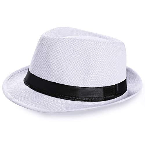 Coucoland Sombrero Panama Mafia Gangster para hombre, Fedora Trilby Bogart de los años 20, accesorio para disfraz de Gatsby, Color blanco, Talla única