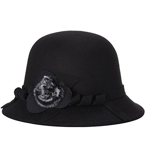 ZUMUii ZUMUii Butterme Frauen Damen Vintage Wool Round Bowler Hat Fedora Derby Hüte Vintage Cloche Hüte Bucket Cap Hut Schwarz