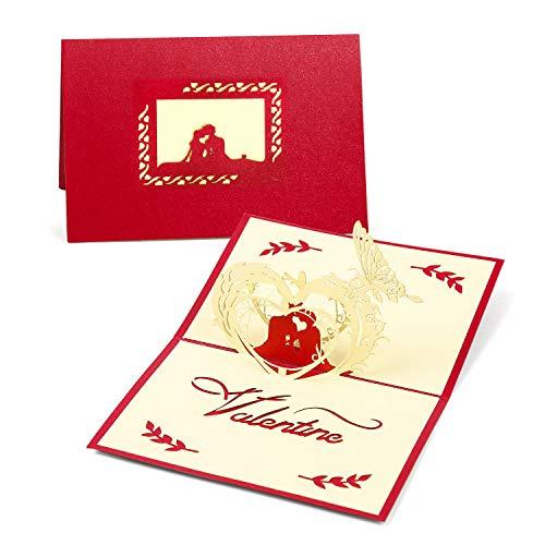IIndes Tarjeta de Felicitatión 3D Pop Up Tarjeta de San Valentín, Tarjeta de aniversario, tarjeta de boda, tarjeta de cumpleaños
