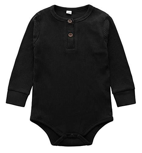 Jurebecia Pijama para Bebé una Piezas Niños Niñas Pelele Manga Larga Mameluco Mono Body Algodón Trajes Recién Nacido Bebé Pijama 9-12 Meses Negro