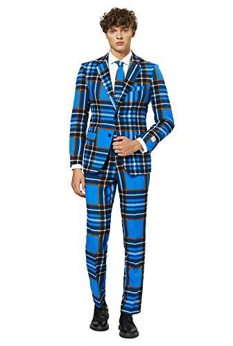 OppoSuits Fun Ugly Christmas Suits for Men – Braveheart – Full Suit: Jacket, Pants & Tie Traje de Hombre, Corazón Valiente, 52