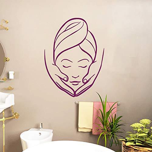 mlpnko Spa Schönheitssalon Massage Wandaufkleber Mädchen dekorative Vinyl Wandmalerei Badezimmer Aufkleber wasserdicht Schlafzimmer 50x67cm