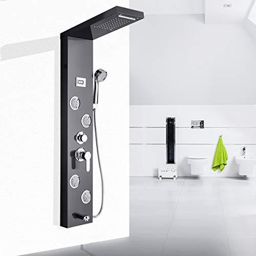 Suguword Schwarz Duschpaneel 5 Funktionen Regendusche Duschset, Duschsystem mit handbrause,Wasserfall Regenduschkopf und Wanneneinlauf mit LED Wassertemperaturanzeige