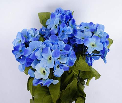 JenlyFavors 22 Inch X-Large Satin Artificial Hydrangea Silk Flower Bush 7 Heads (Periwinkle)