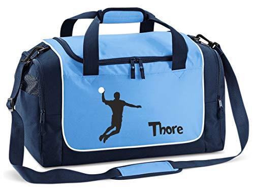 Mein Zwergenland Sporttasche Kinder personalisierbar 38L, Kindersporttasche mit Name und Handballer Bedruckt in SkyyBlue Blau