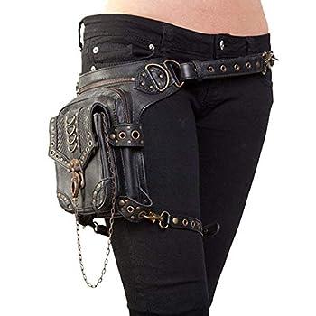 UIYTR Halloween Steampunk Retro Motorcycle Bag Lady Bag Retro Rock Gothic Goth Shoulder Waist Bags Packs  K
