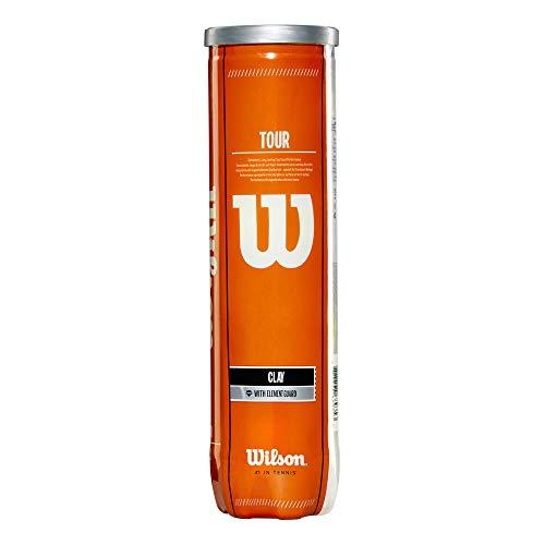Wilson Tennisbälle, Tour Clay, für Sandplätze geeignet, Dose mit 4 Bällen, WRT110500