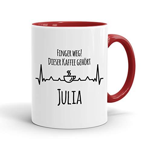 True Statements Tasse Finger weg Dieser Kaffee gehört Wunschname personalisiert - personalisierte Kaffeetasse mit Wunsch-Name ? spülmaschinenfest ? tolles Geschenk zu Weihnachten, innen rot