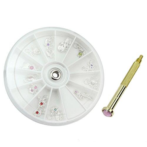 Pro Nail art Piercing Handbohrmaschine Loch Pierce Werkzeug + 24 stücke Nägel Anhänger