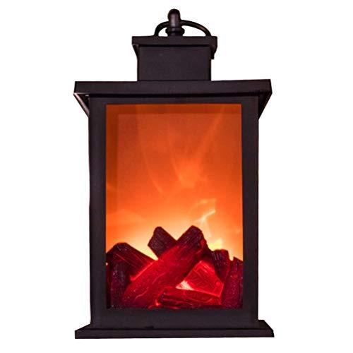 Ahagut LED Kaminfeuer DekoKamin mit Echtflammen Optik Feuersimulation lodernde Flammen Deko Kamin Kaminfeuer Laterne Dekoration