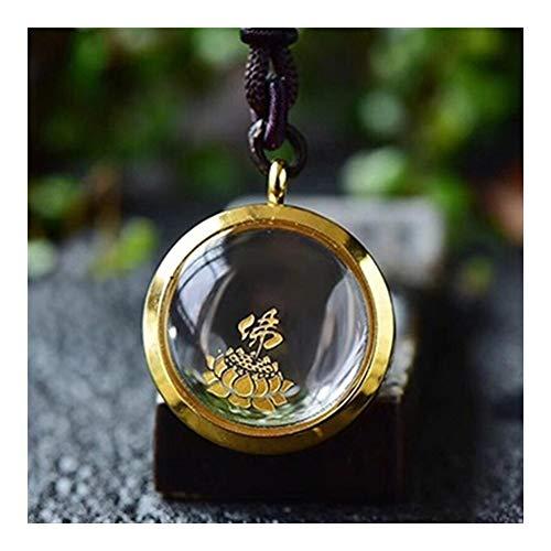 YUNGYE Blanco Amarillo Natural Colgante de Cristal de la Botella Que Desean la joyería del Collar Pendiente de la Suerte for Las Mujeres de los Hombres Malos espíritus Blessing (Metal Color : B)