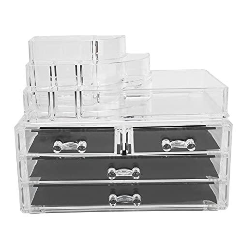 Organizador de maquillaje, caja de almacenamiento de joyería transparente multifuncional desmontable para uso doméstico para tienda Cosméticos para suministros de belleza para herramientas