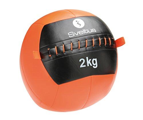 Sveltus - Balón Medicinal Wall con un diámetro de 35 cm. y un Peso de 2 kg. - Balón Medicinal Unisex en Color Naranja y Negro