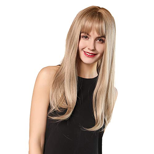 Esmee 24Inch Charming Wig Light Gold Long Wigs for Women Middle Parting Natural Straight Heat Resistant Synthetic Wigs for White Women with Bangs