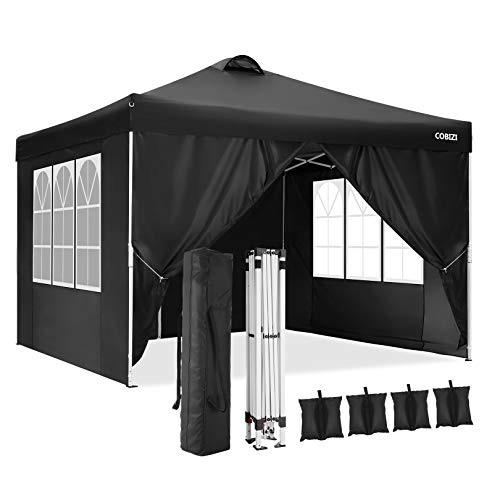 COBIZI Canopy Tent Popup Canopy 10x10 Commercial Instant Canopies Gazebo with Vent, Outdoor Party Canopies with 4 Removable Sidewalls and Carry Bag, 4 Weight Bags, 8xStakes&4xRopes (Black)