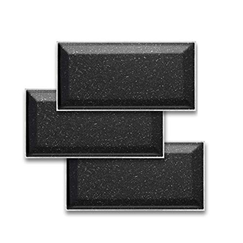 JLCP Pegatinas De Baldosas 3D, Terraza Negra Pegatinas De Azulejos Impermeable PVC Adhesivo Decorativo De Azulejos para Cocina Y Baño, 20X10cm,54PCS
