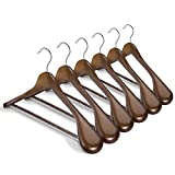 HOUSE DAY Wide Shoulder Wooden Hangers 6 Pack with Non Slip Pants Bar, Smooth Finish 360° Swivel Hook Solid Wood Suit Hangers Coat Hangers for Dress, Jacket, Heavy Clothes (Walnut)