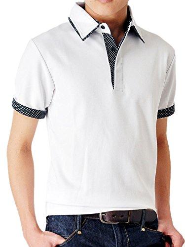 (アローナ)ARONA ドット使い ダブル衿 カノコ 半袖 ポロシャツ /M1.5/ ホワイト L