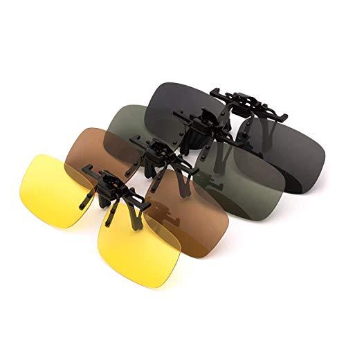 PChero 4-Pack Clip-on Polarisiert Brille für Outdoor-Aktivitäten, Nachtsicht Gelb + Grau + Dunkelbraun + Dunkelgrün - (Groß)