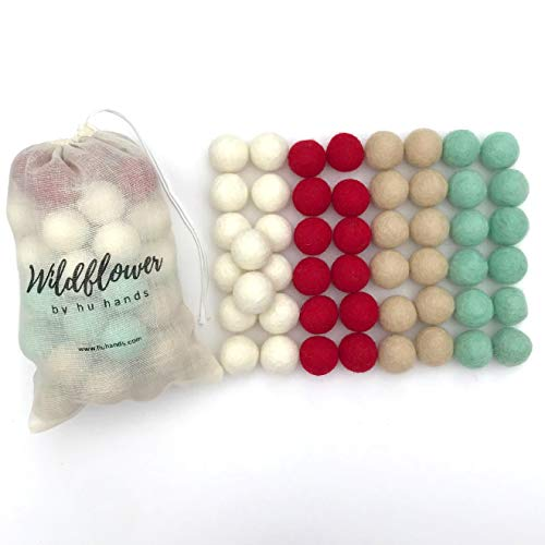 Wildflower by hu hands Christmas Cheer 100% Wool Felt Balls | 50 Pom Poms for Crafts, Garland, Felting, Decor | .8-1 Inch Red, White, Tan, Aqua Pompoms | Hand Felted in Nepal | Muslin Bag Included