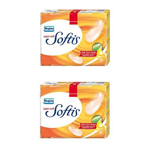 Regina Softis Taschentücher super-soft mit Aloe Vera Lotion, 4-lagig, 60 Stück…