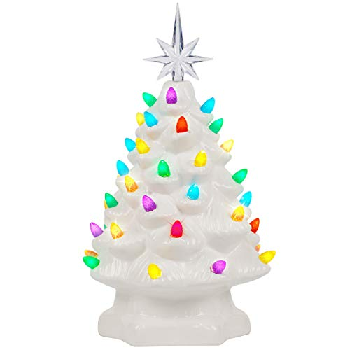 Lulu Home Ceramic Christmas Tree, 10 Inch LED Light Up Ceramic Tabletop Christmas Tree with 54 Multicolored Lights and a 7 Point Star Topper, White Mini Vintage Lighted Ceramic Tree for Tabletop