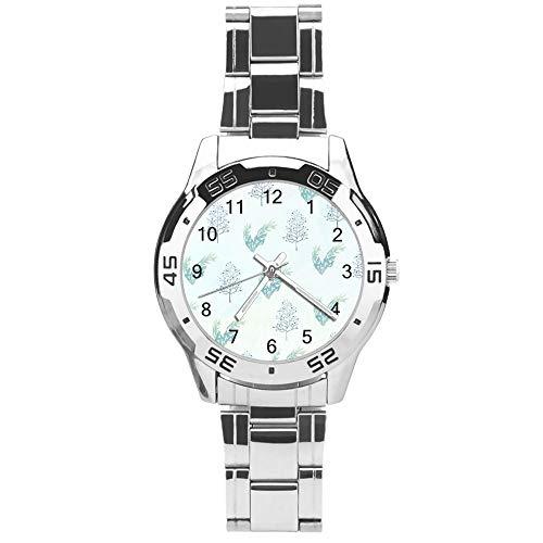 Klassiek driehands kwarts horloge met roestvrij stalen band, wijzerplaat Varen Kruiden Planten, Verstelbare Automatische riem, Zilver, voor Unisex,Beste cadeau (41mm) lmsupj12kymx