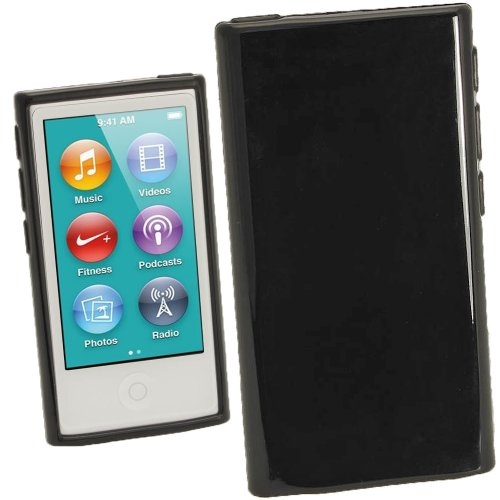 Preisvergleich Produktbild iGadgitz U2008 Glänzend Dauerhafte Kristall Gel Tasche TPU Hülle Schutzhülle und Displayschutzfolie Kompatibel mit Apple iPod Nano 7 Gen - Schwarz