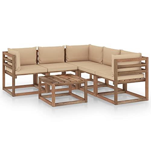 vidaXL Bois de Pin Imprégné Salon de Jardin 6 pcs avec Coussins Mobilier de Patio Meubles de Terrasse Mobilier de Jardin Meubles d'Extérieur Beige
