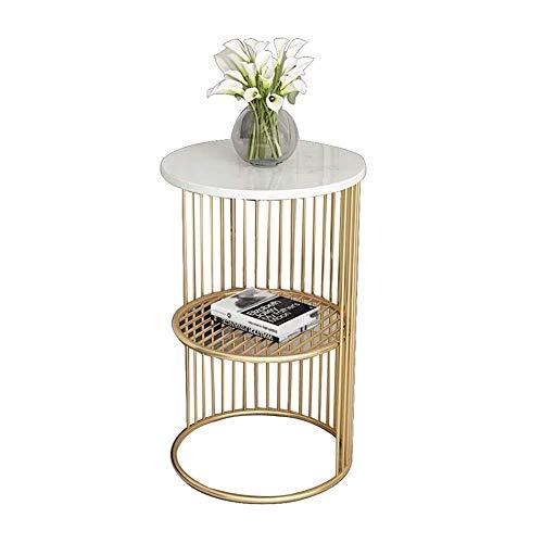 NBVCX Möbeldekoration Runder Akzenttisch mit Käfig Metallrahmen mit Marmorplatte Sofa Seite Einfacher Nachttisch Weißgold 11,8X23,6 Zoll Weiß