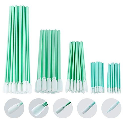 YOUZAN Foam Tip Cleaning Swabs 100PCS in 5 Models, Multi-Purpose Lintless Swabs Foam Q Tips for Inkjet Printer, Printhead, Camera, Optical Lens, Gun, Automotive Detailing