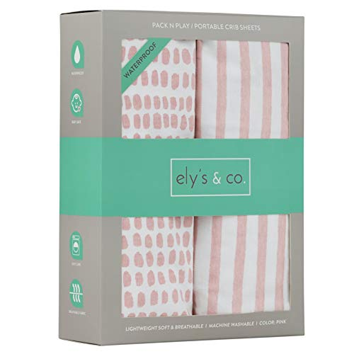 Waterproof Pack N Play/Mini Portable Crib Sheet with Mattress Pad Cover Protection I Mauve Pink Stripes and Splash by Elys & Co.