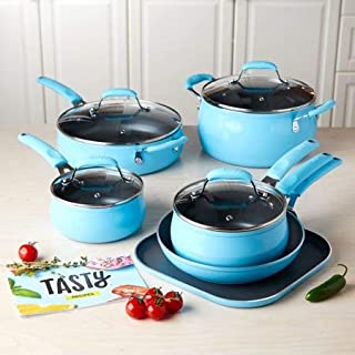 Tasty, Cookware Set Non-Stick - Diamond Reinforced - PFOA Free, 11 Pieces, Blue + Fabric Wipes