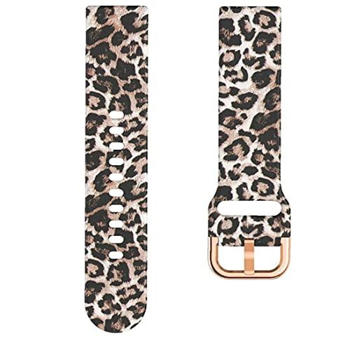 Naisedier Reloj Band 22mm con impresión Colorida Reemplazo de Silicona Smart Watch Leopard Leopard Proporciona Estilos clásicos