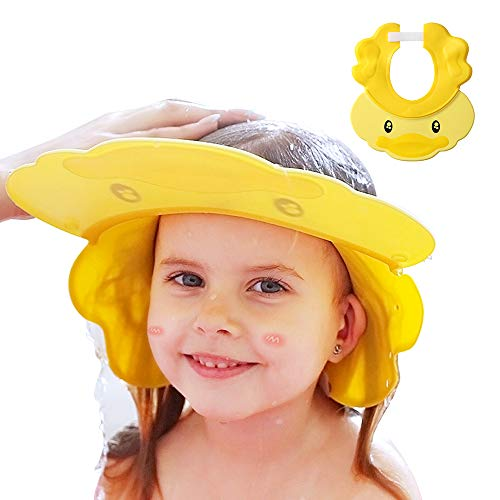 Shower Cap Baby Bath Visor Adjustable Hair Washing Aids for Kids Adult Shampoo Shield Yellow for Girls Boys Toddler Shower Hat Silicone Large Waterproof