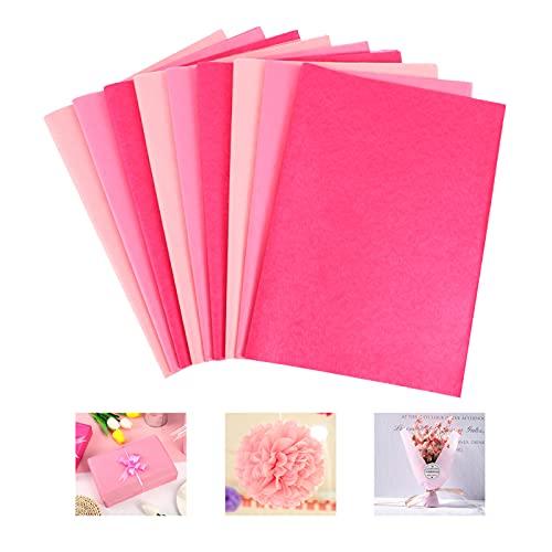 SOSPIRO 120 Blatt Seidenpapier bastelpapier Geschenkpapier buntes papier transparentpapier für Heimarbeit Bastelarbeit Geschenkverpackung - 35x50 cm(Rosa)