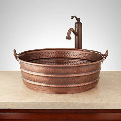 "Signature Hardware 426676 Signature Hardware 937961 17"" Copper Vessel Bathroom Sink"