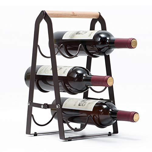 Kingrack estante de vino de cobre metálico para seis botellas, Estante portabotellas de vino plegables, Listo ensamblado wkuk130915