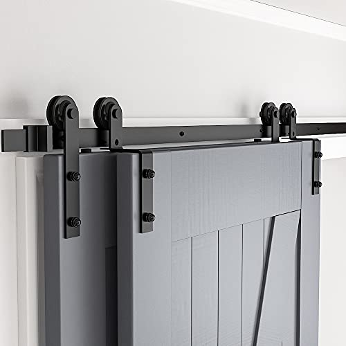 skysen 6FT Heavy Duty Sliding Barn Door Hardware Single Track Bypass Double Door Kit Black(Bypass I Shape-1)
