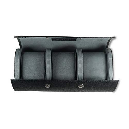 Luxuriöse Uhrenrolle für 3 Uhren aus Italienischem Saffiano Leder handverarbeitete Reise-Uhrenbox mit Geschenk-Verpackung (Schwarz)