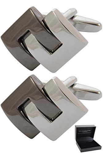 COLLAR AND CUFFS LONDON - Boutons de Manchette avec Boite-Cadeau - Grand Qualité - Symétrique C Design - Laiton - Couleur Argent et Bronze - Moderne É