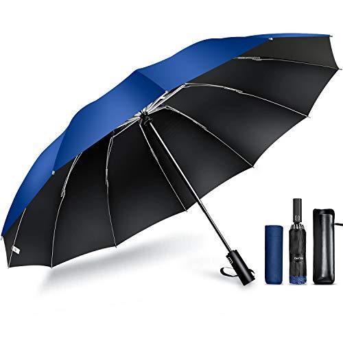 【2021最新 12本骨 & 逆折り式】 折りたたみ傘 ワンタッチ 自動開閉 メンズ傘 大きい 耐風 撥水 晴雨兼用 男子日傘 UVカット 紫外線遮蔽 折り畳み傘 メンズ レディース 梅雨対策 台風対応 収納ポーチ付き DeliToo (ネイビー)