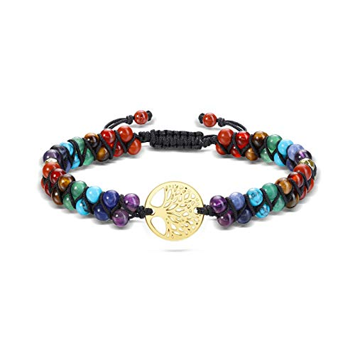 CrystalTears Chakra Armband Doppelschicht geflochten Armreif mit OM Ornament Edelstein Perlenarmband Energietherapie Yoga Esoterik Schmuck(Lebensbaum)