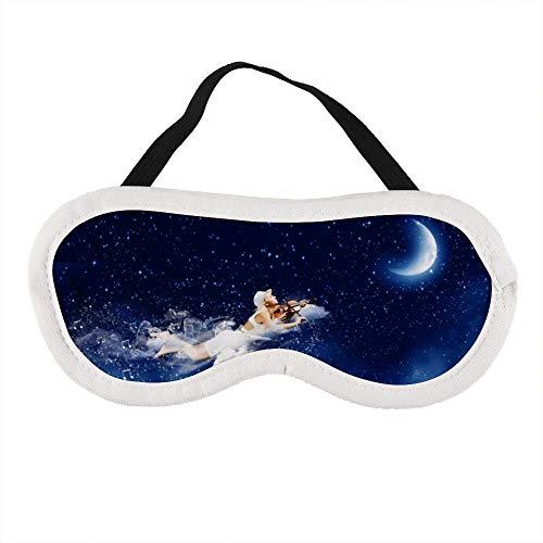 Draagbaar oogmasker voor mannen en vrouwen, blonde meisjes vliegen en spelen viool in de nacht hemel de beste slaap masker voor reizen, dutje, geven u de beste slaap omgeving