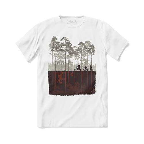 MUSH T-Shirt Stranger Things Biciclette - Eleven Dustin Mike Will Lucas - Serie TV Netflix - 100% Cotone Organico, Donna XL, Bianco