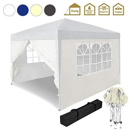 Froadp Faltpavillon 3x3m Gartenpavillon mit 4 Seitenteilen Sonnenschutz Pavillon mit Tasche Wasserdicht Festzelt UV-Schutz Partyzelt für Garten Party Hochzeit Picknick(Beige)