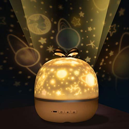 Mobestech proiettore notturno cielo stellato luce notturna romantico proiettore rotante a stella con carillon lampada vivaio con 6 set di diapositive per camera da letto